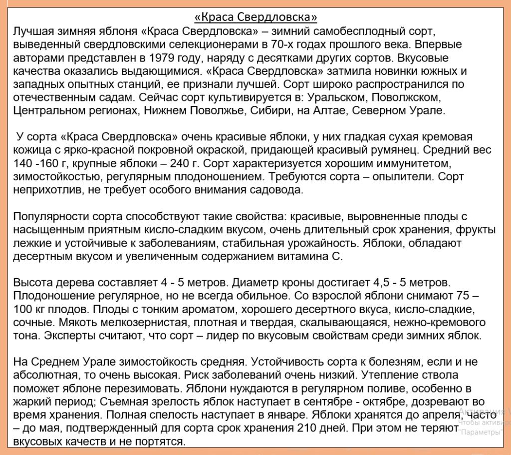 """Краткое описание сорта яблони """"Краса Свердловска"""""""